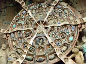 The Buddhist wheel of life showing numerous stages of reincarnation