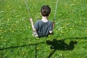©Jérôme Gorin/AltoPress/Maxppp ; Little boy on swing, rear view